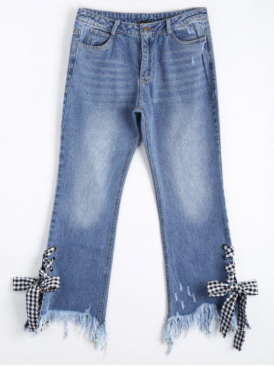 trendy Distressed Lace Up Cutoffs Bootcut Jeans - DENIM BLUE L