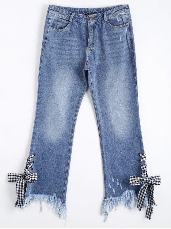 chic Distressed Lace Up Cutoffs Bootcut Jeans - DENIM BLUE M
