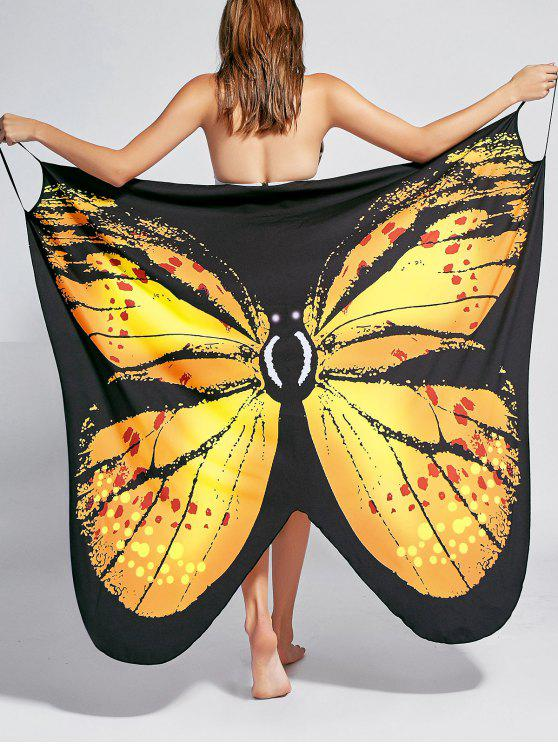 trendy Butterfly Print Beach Wrap Cover Up Dress - YELLOW M