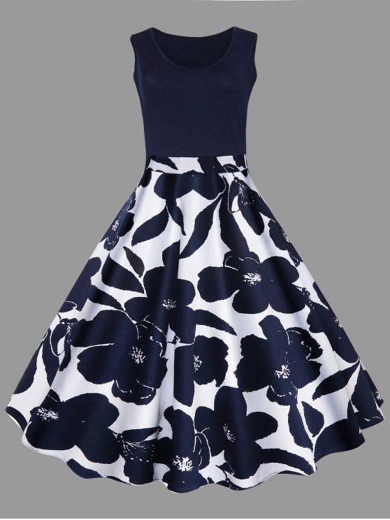 Plus Size Floral Printed Midi Vintage Flare Dress - 藏青 XL