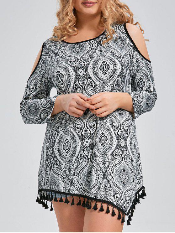 bc5c8763749 Plus Size Tassel Trim Printed Open Shoulder Long Sleeve Tee - Black 5xl