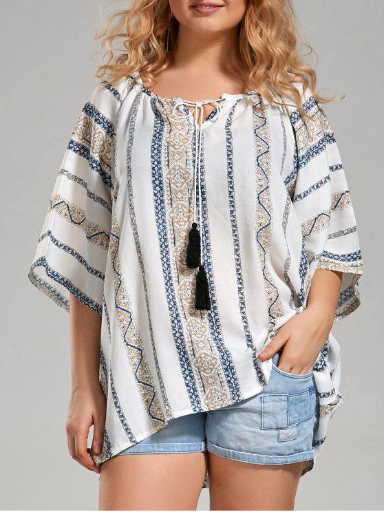 Blusa de boêmio impresso tribal com tamanho grande com borracha - Branco 4XL