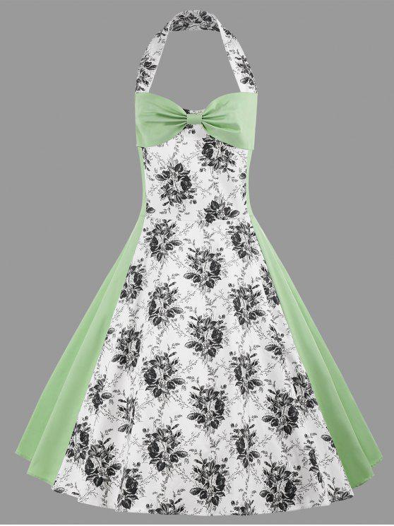 2018 Halter Floral Print Plus Size Vintage Dress In Light Green 3xl