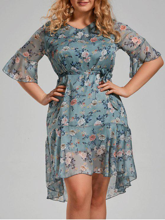 unique Plus Size Floral Printed Organza Ruffle Dress - MEDIUM BLUE 5XL