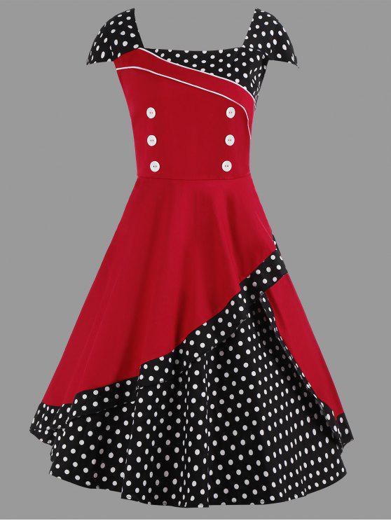 فستان متزلج ميدي البولكا نقطة كلاسيكي الحجم الكبير - أحمر 4XL
