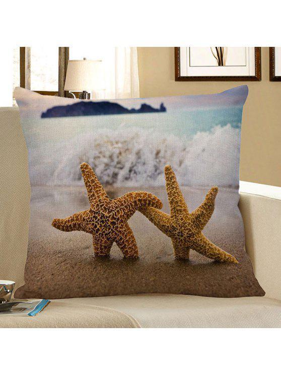 غشاء وسادة مزين بطبعة الشاطئ ونجوم البحر - أزرق فاتح 45 * 45CM