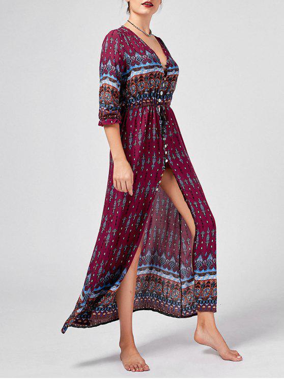 فستان بوهيمي عالية انقسام طباعة قبلية زر - نبيذ أحمر XL
