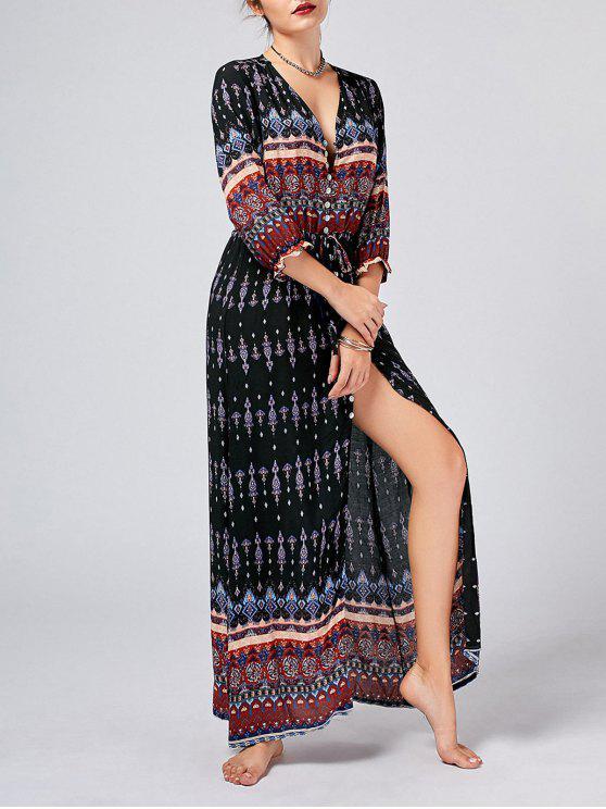 فستان بوهيمي عالية انقسام طباعة قبلية زر - أسود M