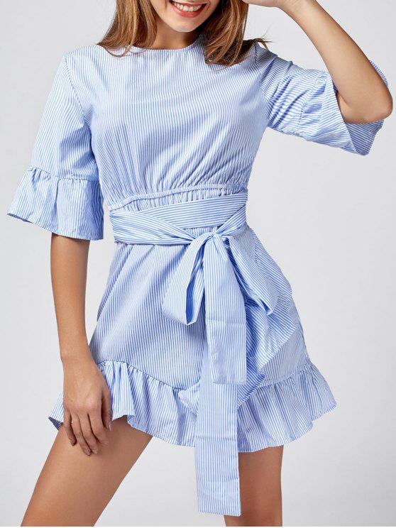 فستان مخطط كشكش تريم - أزرق M