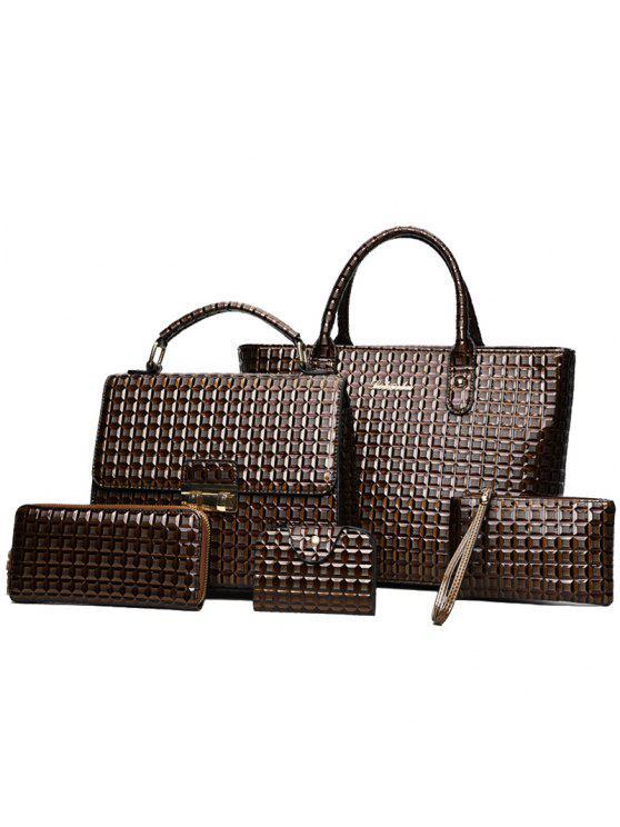 5 قطع مجموعة حقائب اليد طباعة هندسية - BROWN