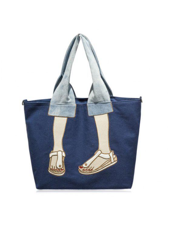 حقيبة توتس بقماش كتاني مطرزة - أزرق
