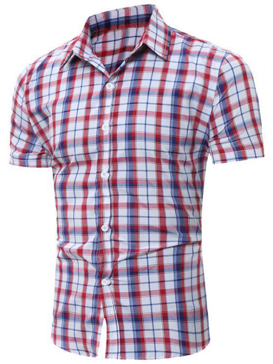 قميص قصير الأكمام تحقق - أحمر S