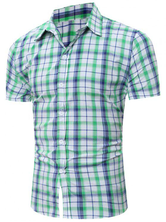 قميص قصير الأكمام تحقق - أخضر 2XL