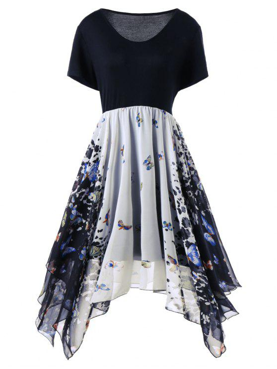 زائد حجم الفراشة طباعة منديل اللباس - Colormix 5XL