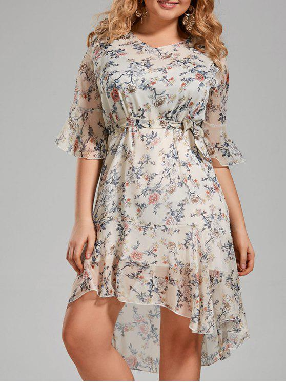 unique Plus Size Floral Printed Organza Ruffle Dress - WHITE 4XL