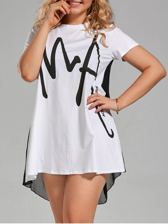 30% OFF] 2019 Plus Size Letter Graphic Smock T-shirt Dress In WHITE ...