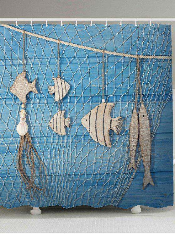 شبكة صيد السمك الخشب الحبوب الأسماك طباعة دش الستار - أزرق فاتح W59 بوصة * L71 بوصة