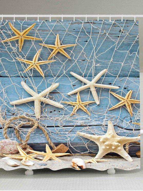 نجم البحر الصيد صافي الخشب الحبوب بحري دش الستار - الضوء الأزرق W65 بوصة * L71 بوصة