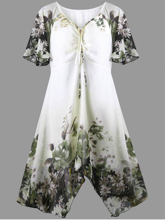 2018 Plus Size Lotus Print Empire Waist Dress In Green Xl Zaful