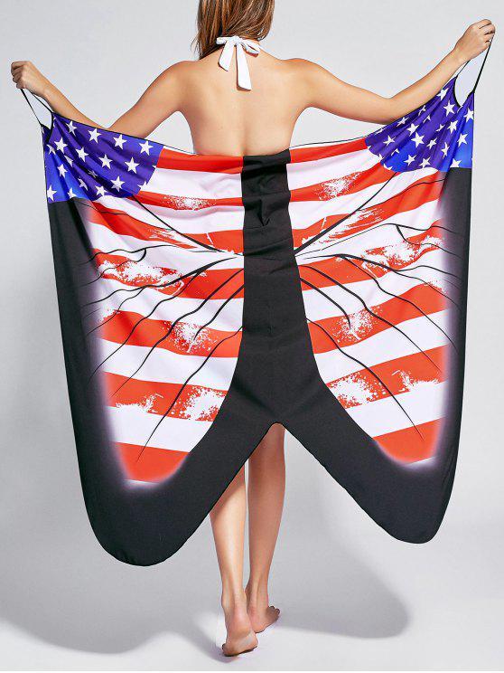 Butterfly Print Beach Wrap Cover Up Dress - Bandeira dos EUA M