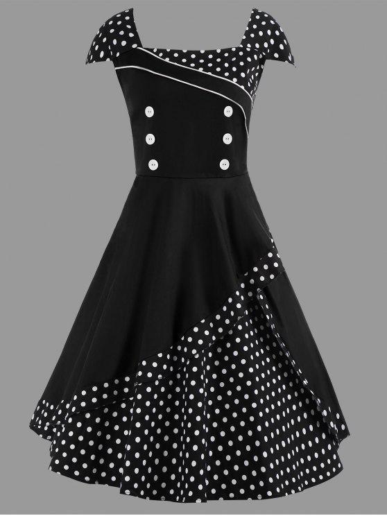 فستان متزلج ميدي البولكا نقطة كلاسيكي الحجم الكبير - أسود 2XL