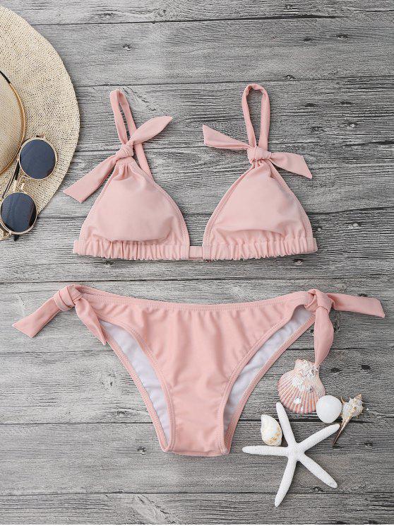 Juego de bikini acolchado nudo de nudo - Rosa L