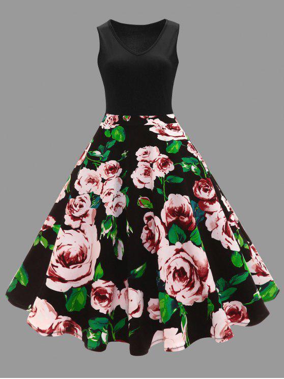unique Plus Size Floral Printed Midi Vintage Flare Dress - BLACK XL