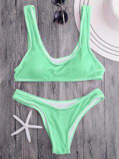 Velvet Bralette Scoop Bikini Set - Apple Green M