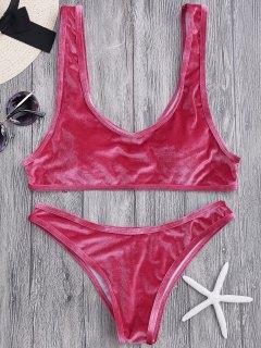 Samt Bralette Schaufel Bikini Set - Weinrot S
