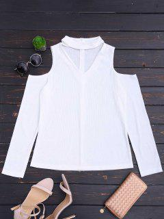 Cold Shoulder Cut Out Ribbed Knitted Tee - White Xl