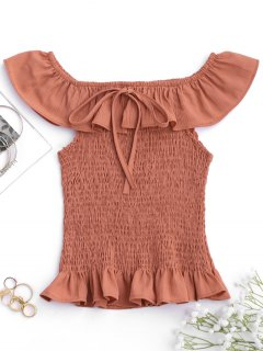 Ruffles Off Shoulder Smocked Cover Up Top - Brick-red