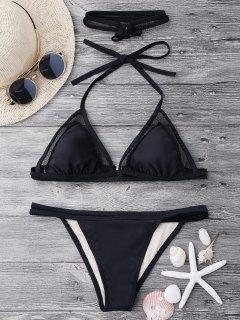 Mesh String Bikini Set With Choker - Black M