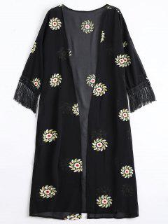 Blusa De Lana Con Flecos Con Remiendos Florales - Negro