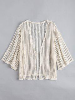Open Front Semi Sheer Striped Blouse - Apricot