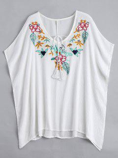 Floral Pacthed Butterfly Sleeve Blouse - White