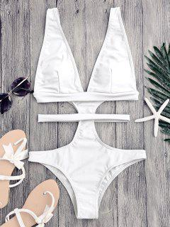 Cut Out Plunging Neck Bandage Swimwear - White L