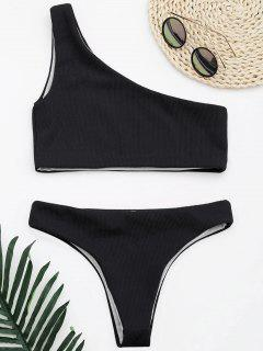 Ribbed Texture One Shoulder Bikini - Black S