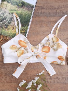 Bowknot Tied Lemon Print Top - White L
