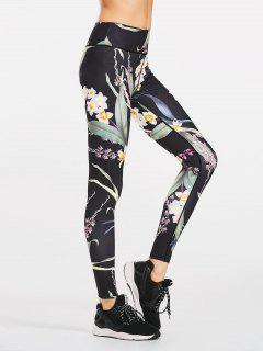 Stretchy Slimming Floral Sporty Leggings - Black M