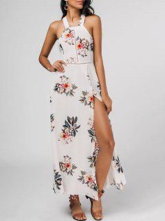 Floral Print High Slit Backless Maxi Dress - White S