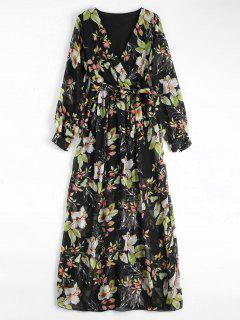 Flower Belted Maxi Surplice Dress - Black L