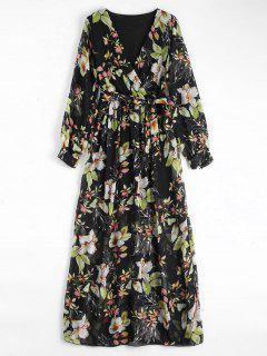 Flower Belted Maxi Surplice Dress - Black S