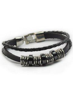 Braided Faux Leather Wrap Bracelet - Black