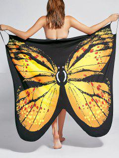 Butterfly Print Beach Wrap Cover Up Dress - Yellow M