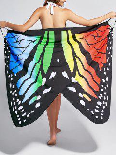 El Abrigo De La Playa De La Impresión De La Mariposa Cubre Encima Del Vestido - M