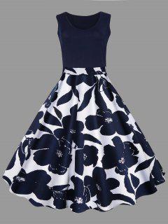 Plus Size Floral Printed Midi Vintage Flare Dress - Purplish Blue 4xl