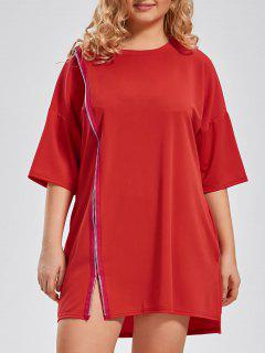 Plus Size Front Zip Long T-shirt - Red 4xl