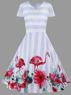 Floral Striped A Line Plus Size Dress - Light Blue 3xl
