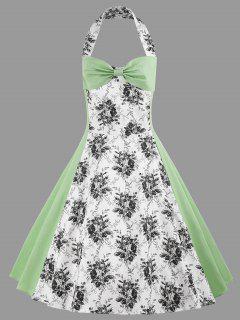 Halter Floral Print Plus Size Vintage Dress - Light Green 2xl