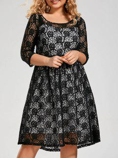 Plus Size Semi Sheer Lace Dress With Sleeves - Black 4xl